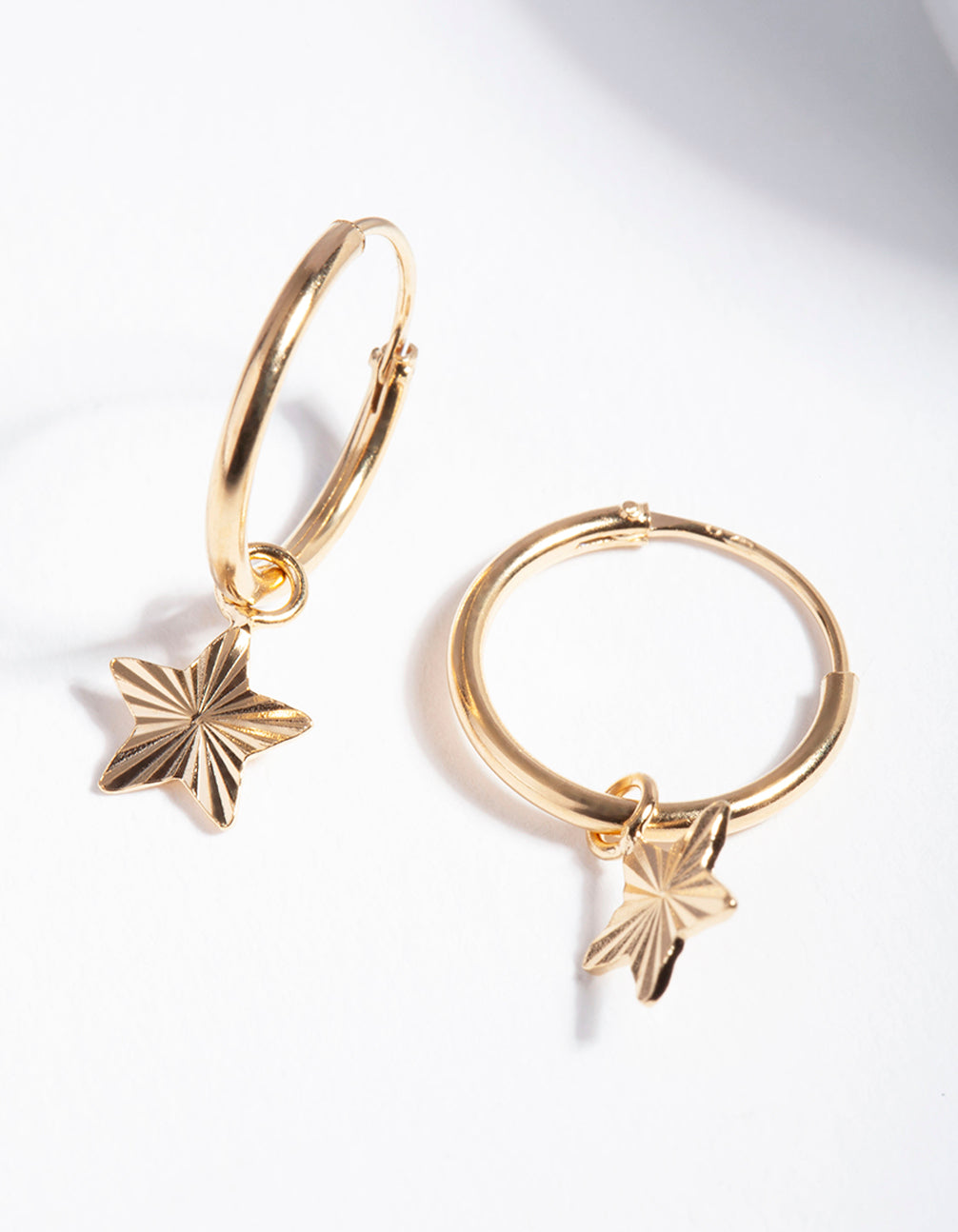 Gold Plated Sterling Silver Textured Star Hoop Earrings
