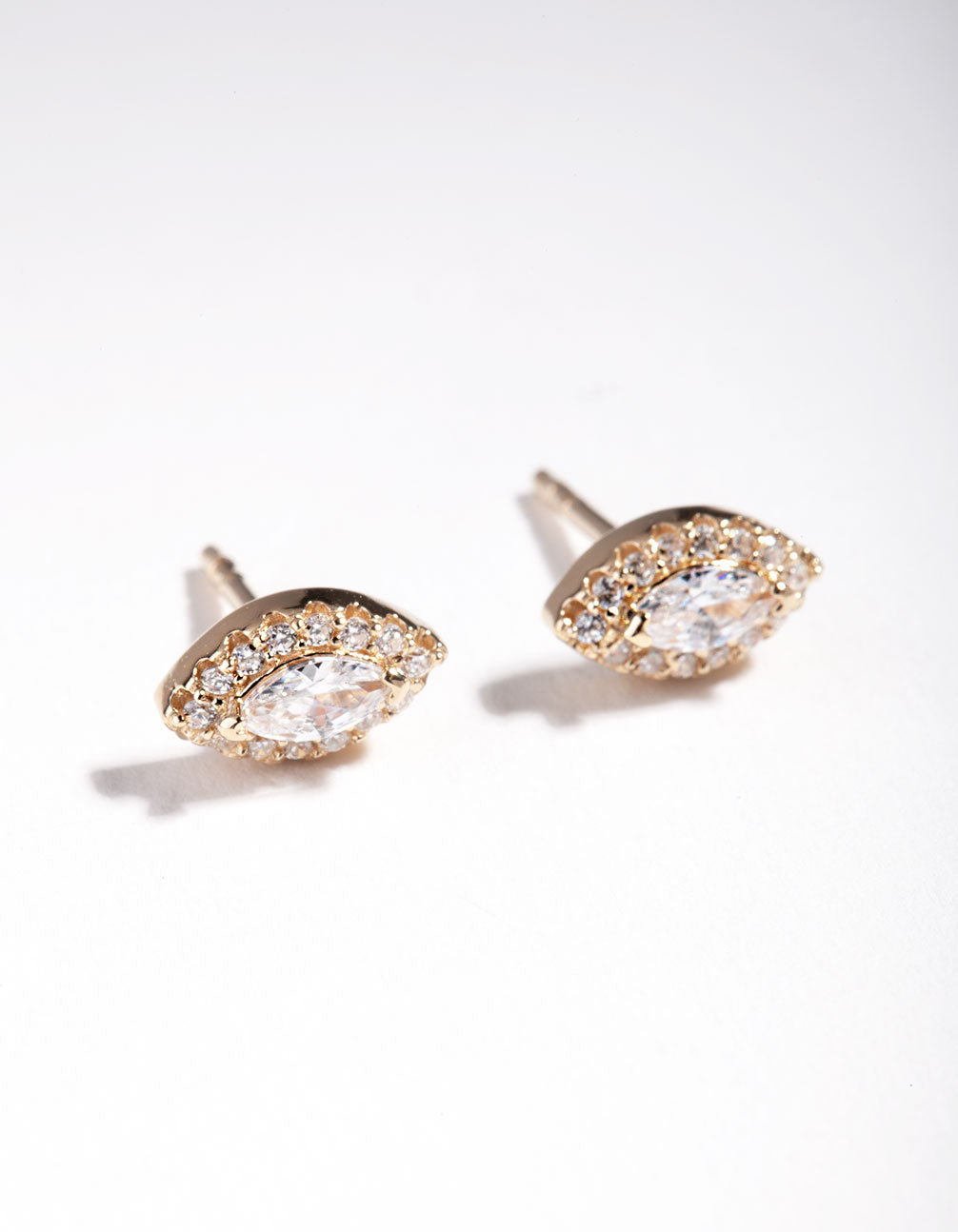 Gold Plated Sterling Silver Marquise Halo Stud Earring