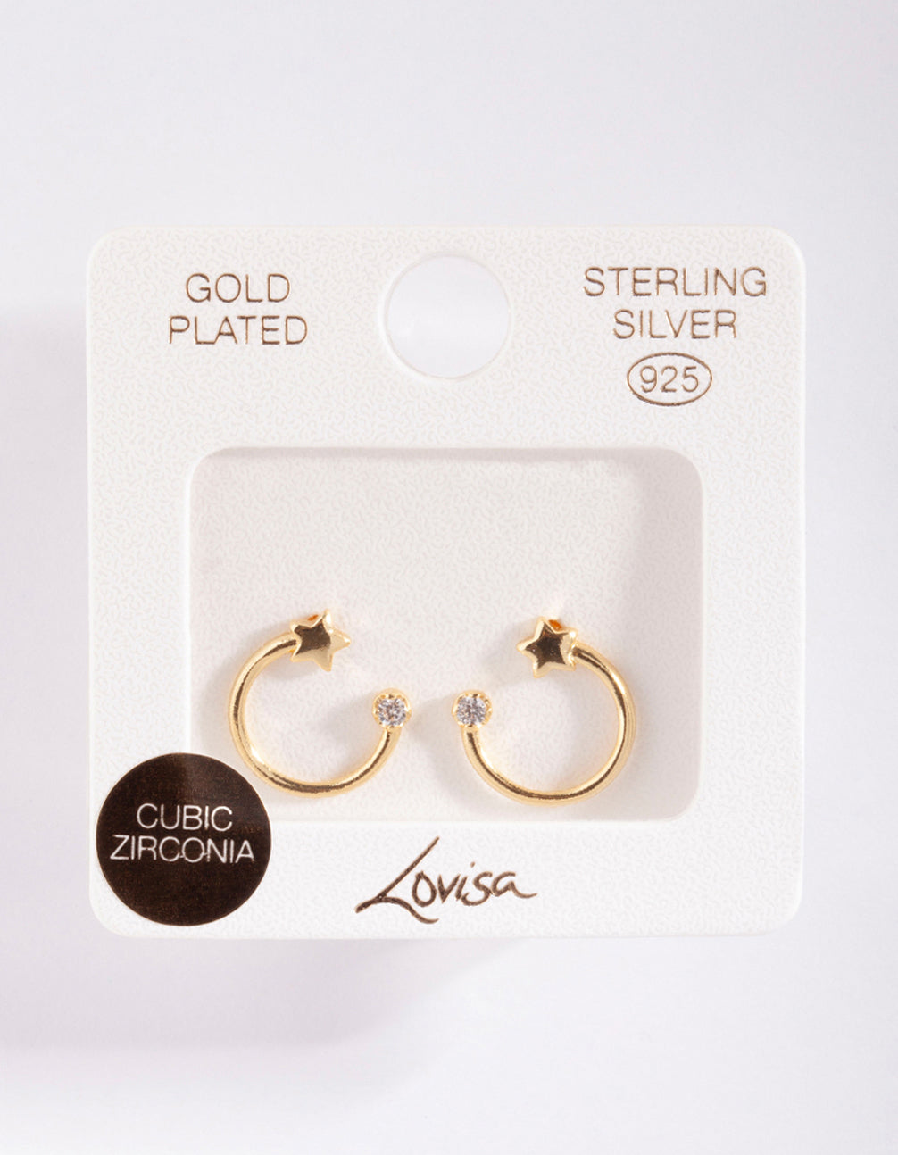 Gold Plated Sterling Silver Open Circle Star Stud Earring