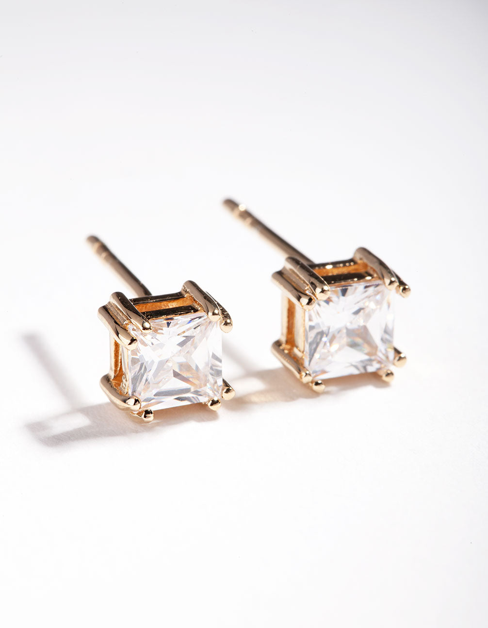 Gold Plated Sterling Silver 1 Carat Princess Stud Earring