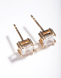 Gold Plated Sterling Silver 1 Carat Princess Stud Earring - link has visual effect only