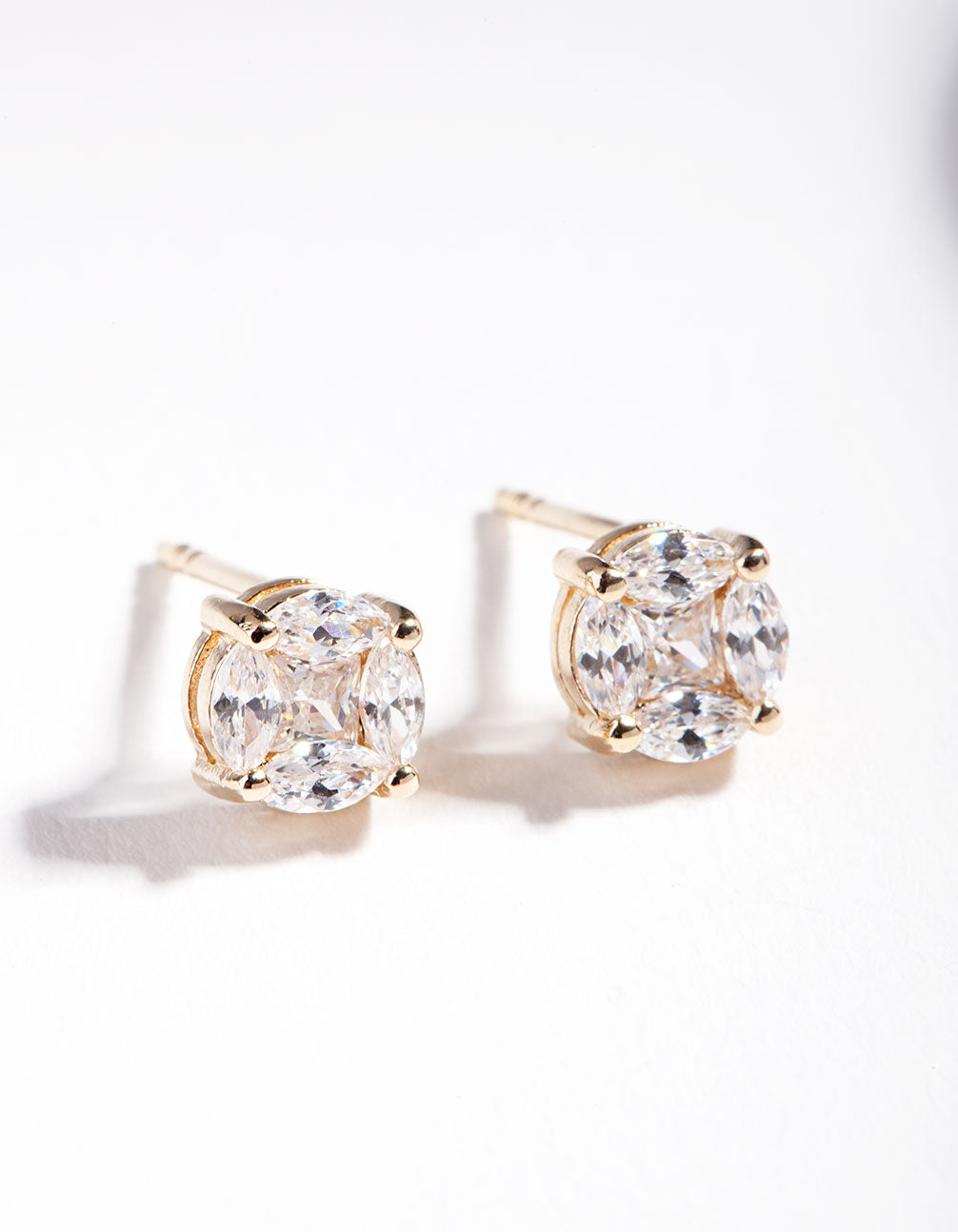 Gold Plated Sterling Silver Multi Cubic Zirconia Stone Stud Earring