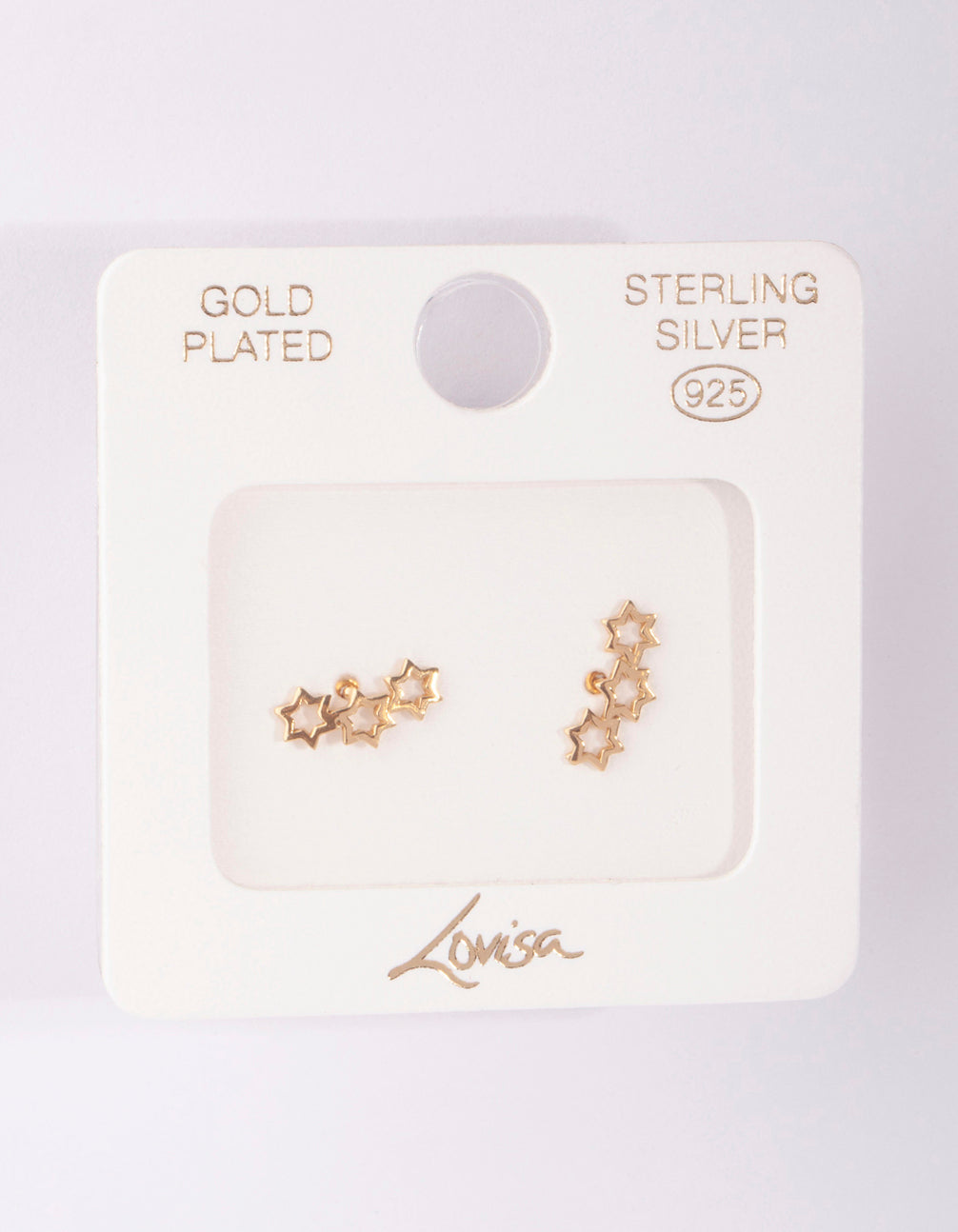 Gold Plated Sterling Silver 3 Star Crawler Earring