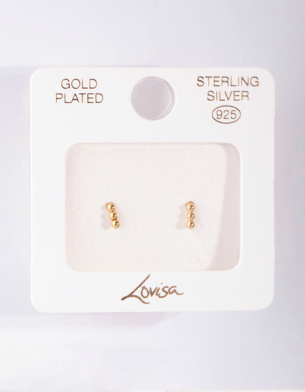 Gold Plated Sterling Silver Triple Ball Stud Earring