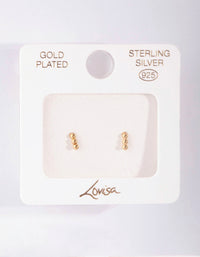 Gold Plated Sterling Silver Triple Ball Stud Earring - link has visual effect only