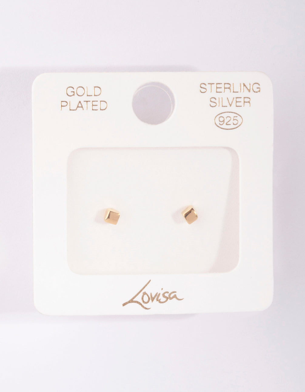 Gold Plated Sterling Silver Mini Cube Stud Earring