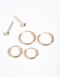 Gold Plated Sterling Silver Stud and Hoop 3-Pack Earring - link has visual effect only