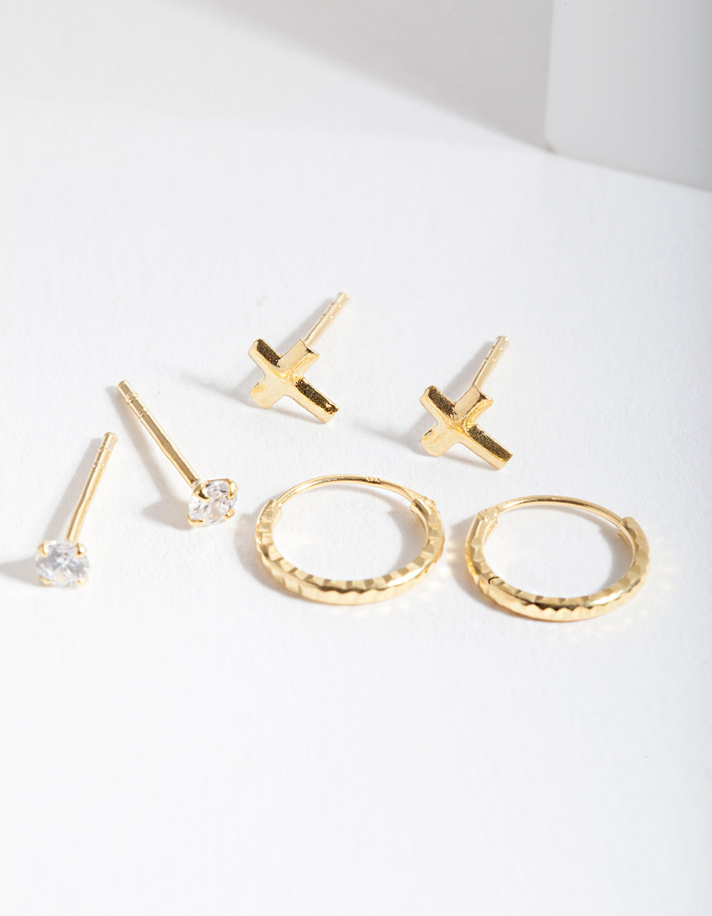 Gold Plated Sterling Silver Cubic Zirconia Cross Earring 3 Pack