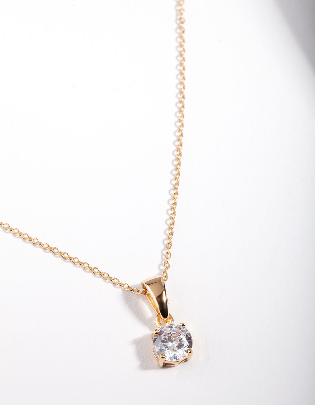 Gold Plated Sterling Silver 1 Carat Cubic Zirconia Necklace