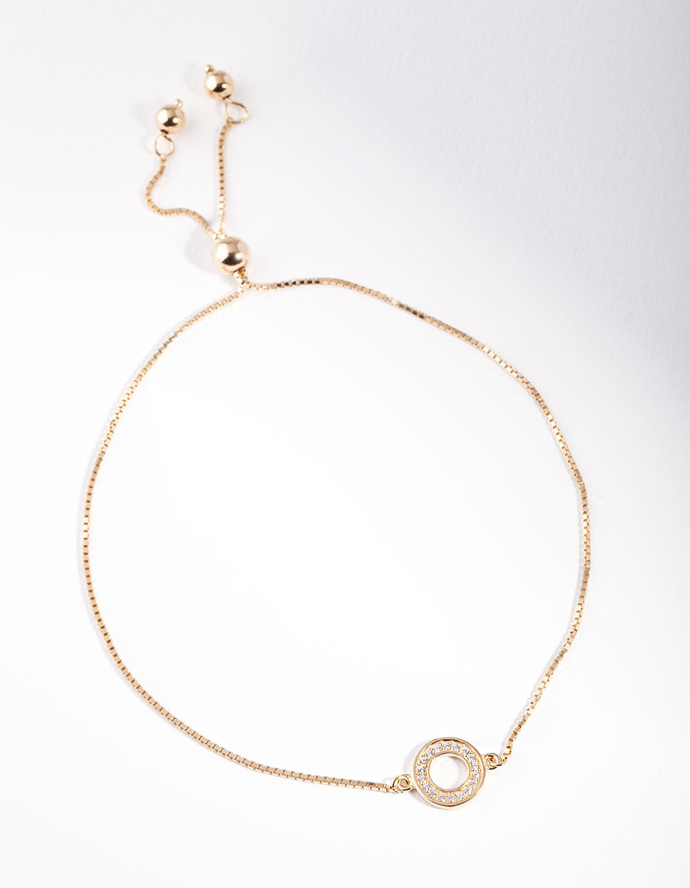 Gold Plated Sterling Silver Open Circle Toggle Bracelet