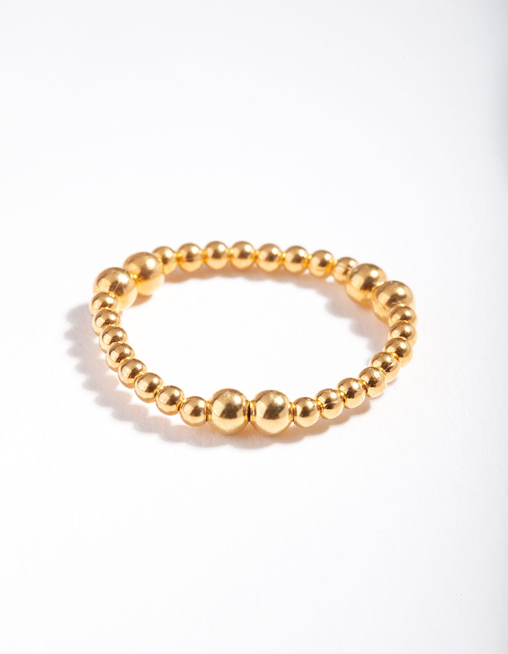 Gold Plated Sterling Silver Stretch Bead Ring