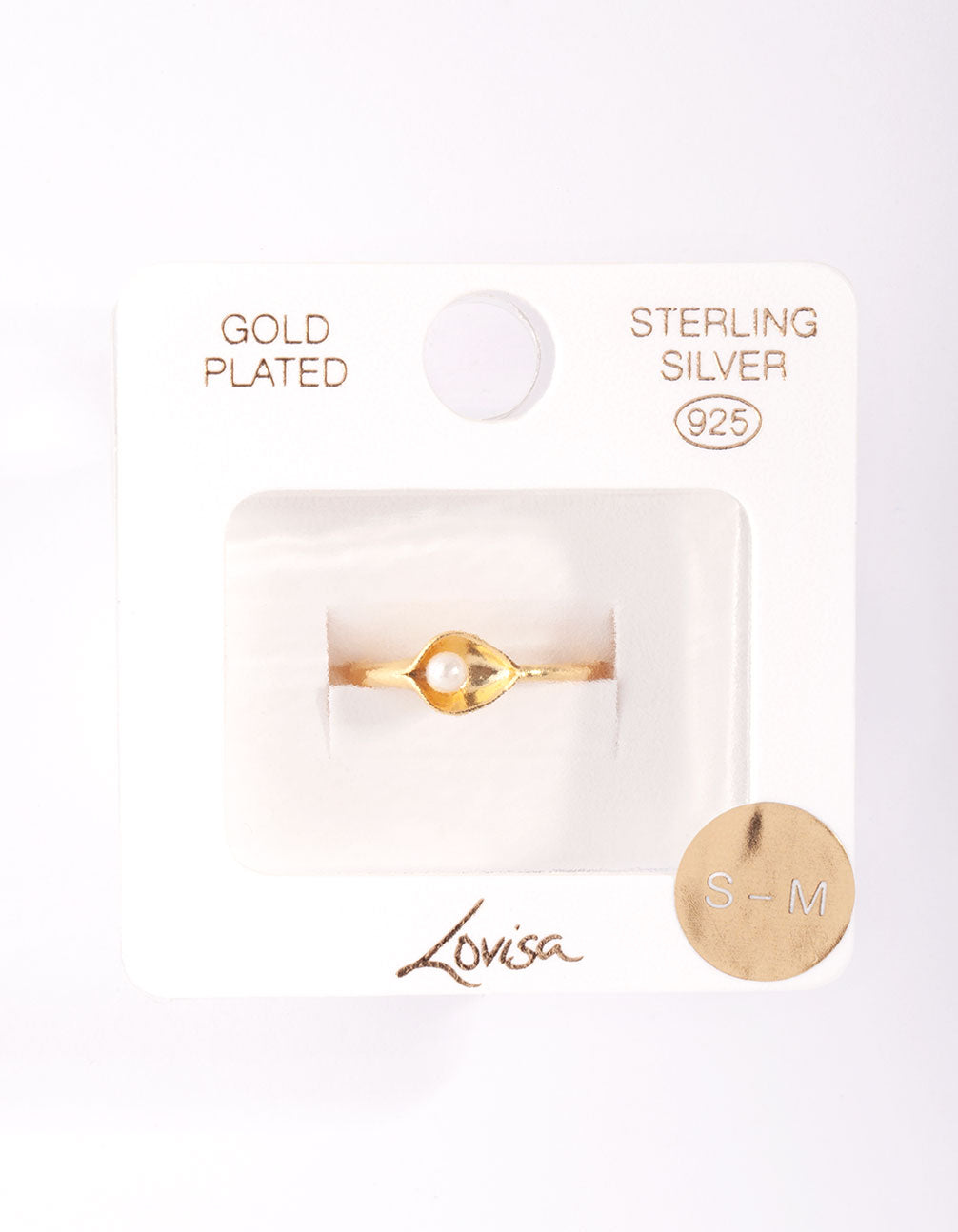 Gold Plated Sterling Silver Pearl Cup Ring