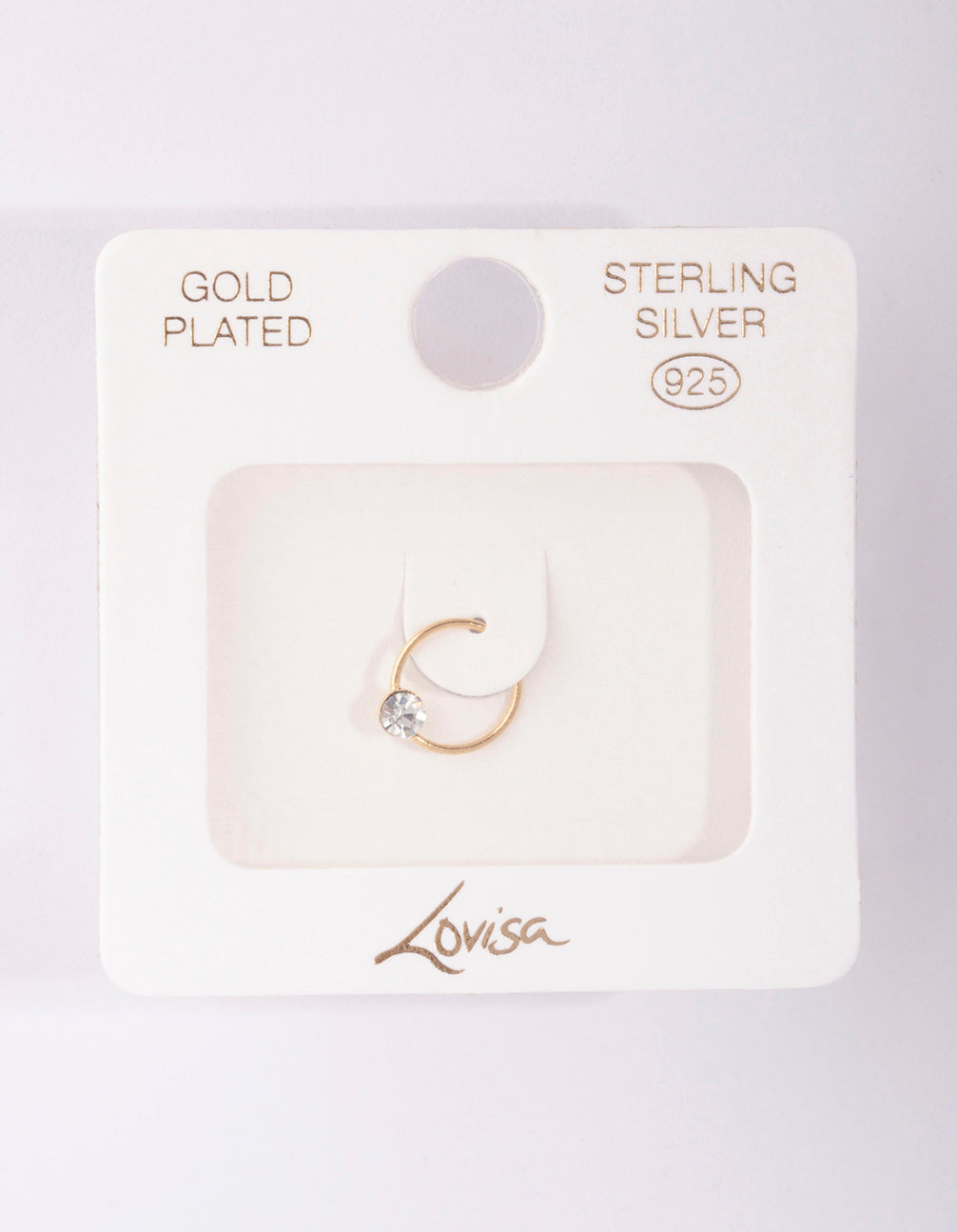 Gold Plated Sterling Silver Medium Crystal Nose Ring
