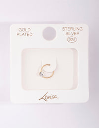 Gold Plated Sterling Silver Medium Crystal Nose Ring - link has visual effect only