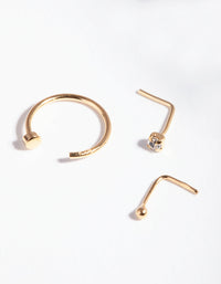 Gold Plated Sterling Silver Nose Hook Stud 3 Pack - link has visual effect only