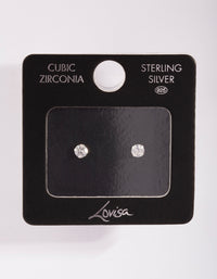 Sterling Silver Cubic Zirconia 1/4 Carat 4 Claw Stud Earring - link has visual effect only
