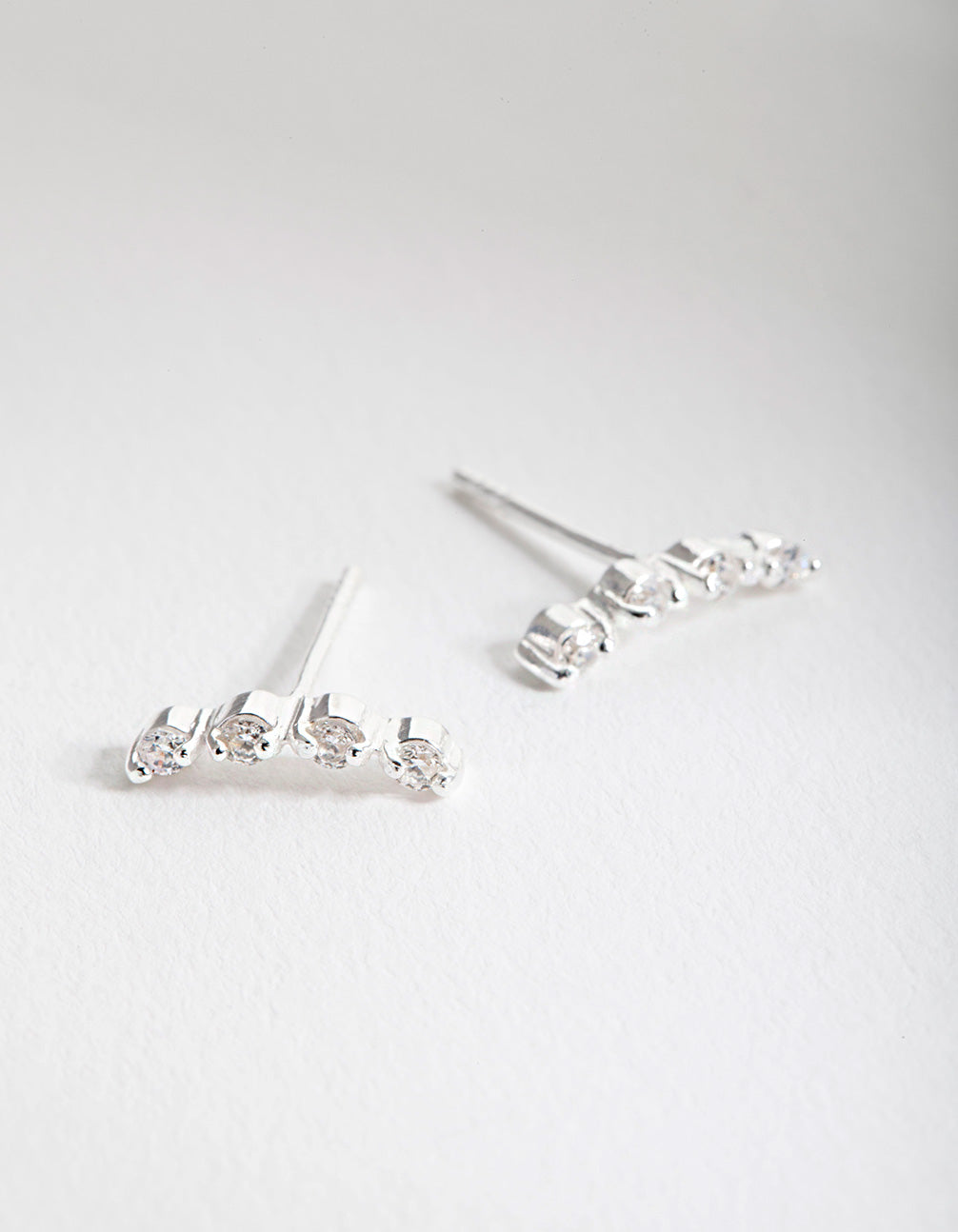 Sterling Silver Cubic Zirconia Crawler 4 Stone Earring