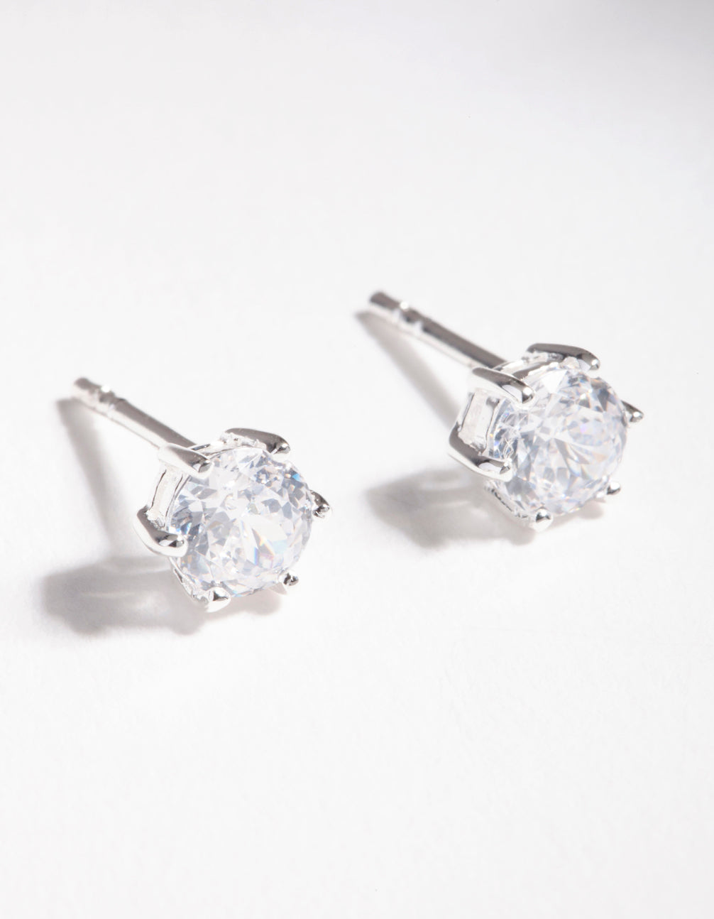 Sterling Silver Cubic Zirconia 6 Claw Stud Earring
