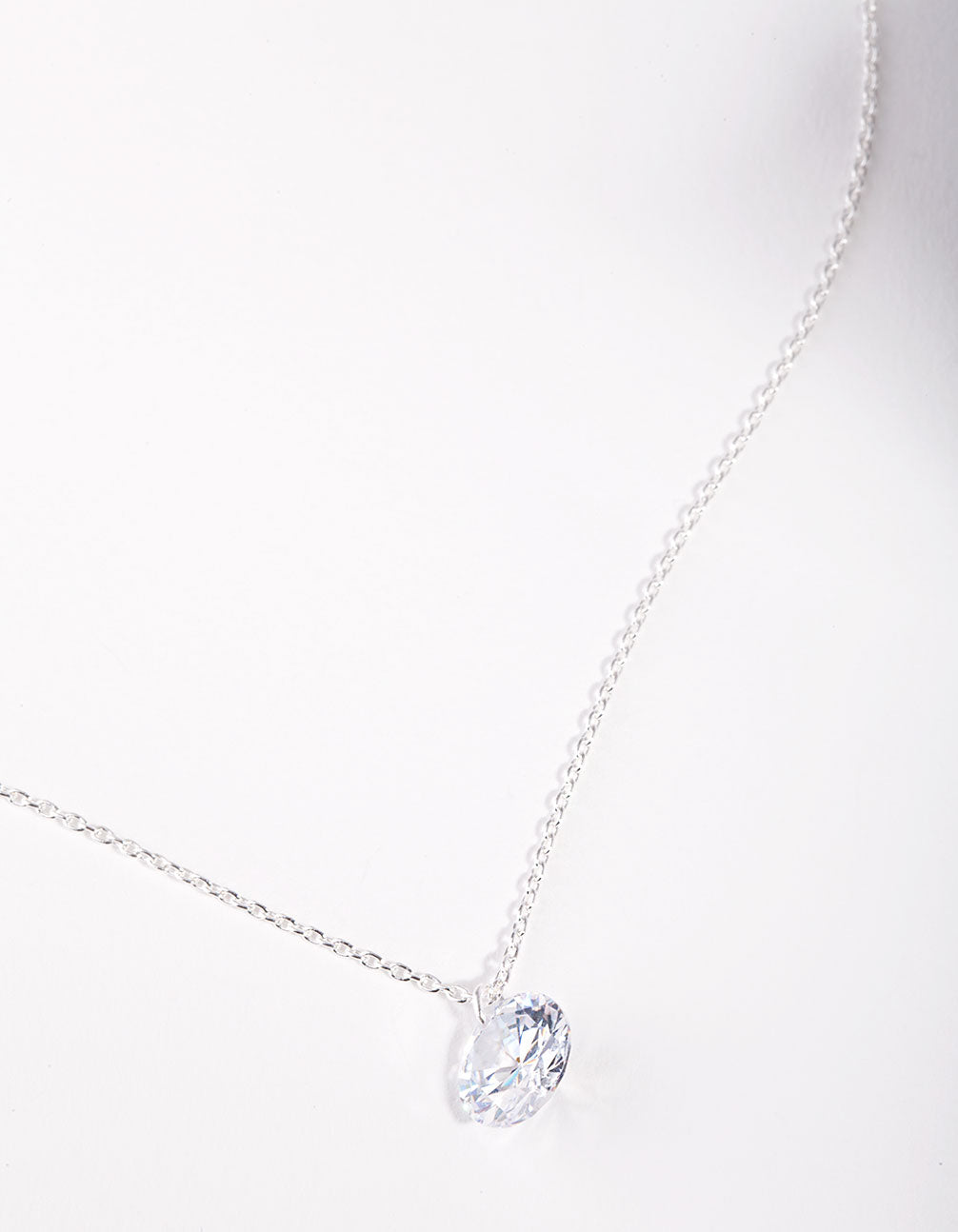 Sterling Silver Cubic Zirconia 1 Carat Stone Necklace