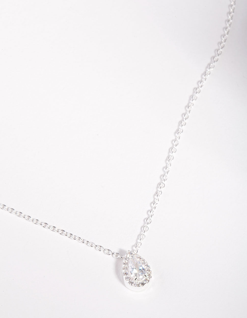 Sterling Silver Cubic Zirconia Pear Halo Necklace
