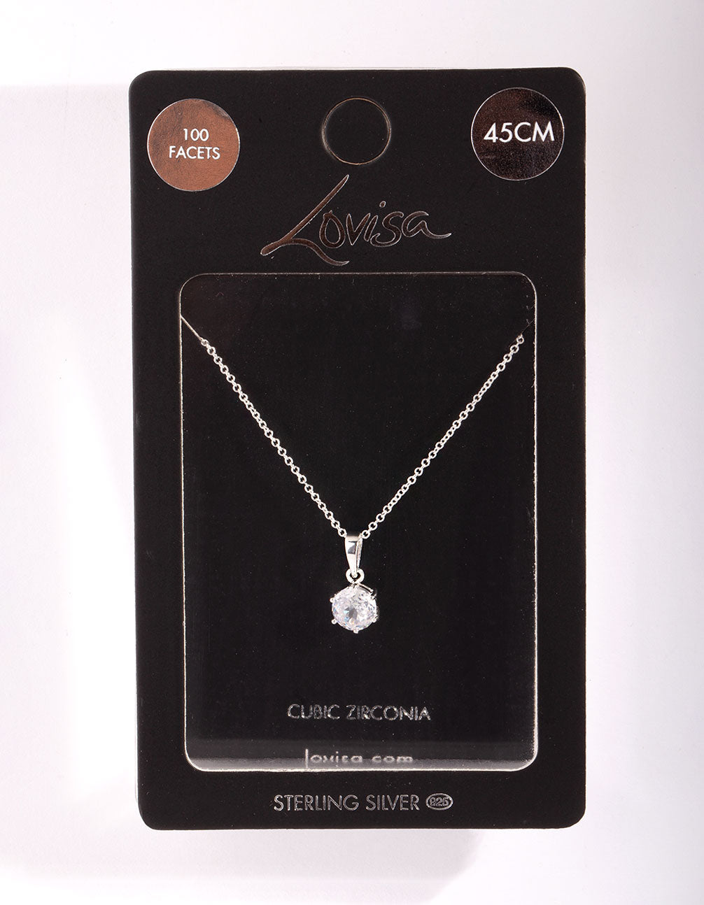 Sterling Silver Cubic Zirconia 100 Facet 6 Claw Necklace