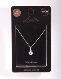 Sterling Silver Cubic Zirconia 100 Facet 6 Claw Necklace - link has visual effect only