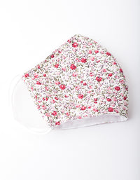 Pink Floral Print Face Mask - link has visual effect only