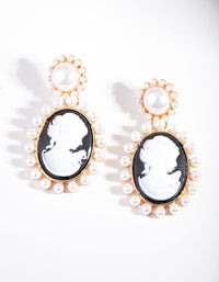 Black Gold Portrait Earring - link has visual effect only