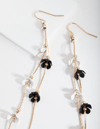 Black and White Flower Drop Earrings - link has visual effect only