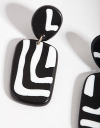 Black and White Square Zebra Print Drop Earrings - link has visual effect only