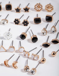 Gold and Dark Feminine Stud Earring 16 Pack - link has visual effect only