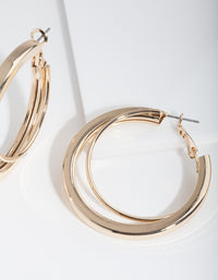 Gold Thick and Thin Hoop Earrings - link has visual effect only