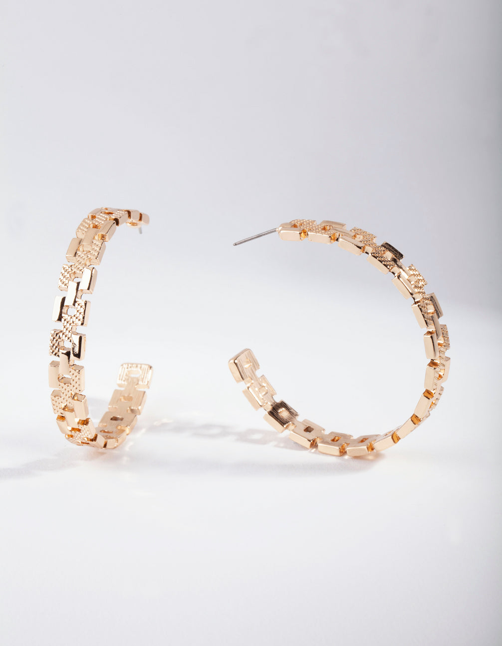 Gold Chain Link Hoop Earring