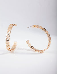 Gold Chain Link Hoop Earring - link has visual effect only