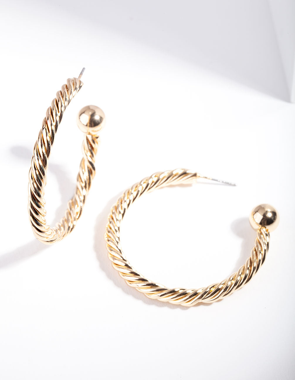 Gold Twist Hoop Ball Earring