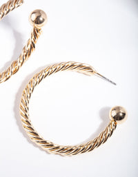Gold Twist Hoop Ball Earring - link has visual effect only