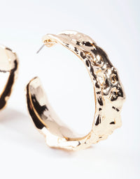 Gold Molten Texture Hoop Earring - link has visual effect only