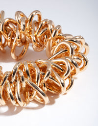Gold Chunky Link Bracelet - link has visual effect only