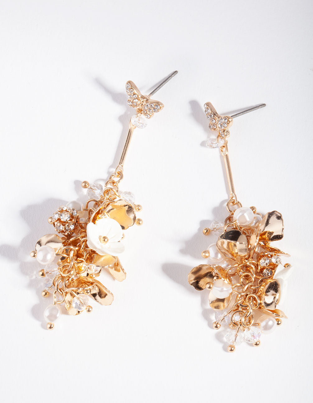 Gold Floral Bead Butterfly Earring