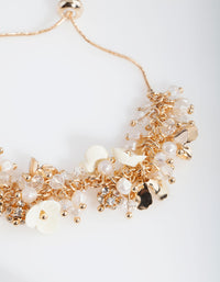 Gold Flower Pearl Bracelet - link has visual effect only