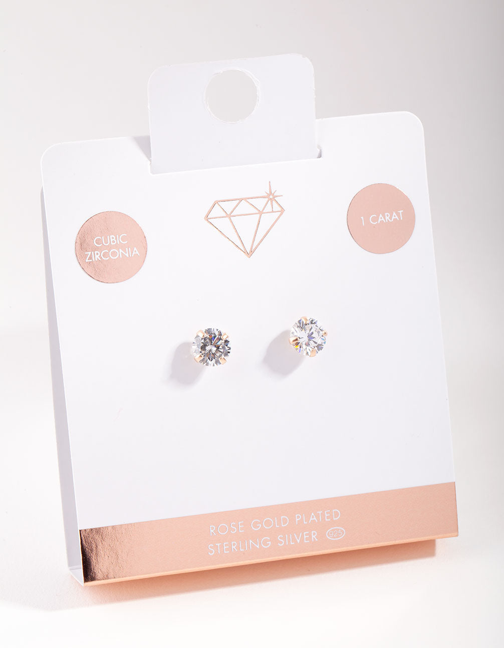 Rose Gold Plated Sterling Silver 7mm Cubic Zirconia Stud Earrings