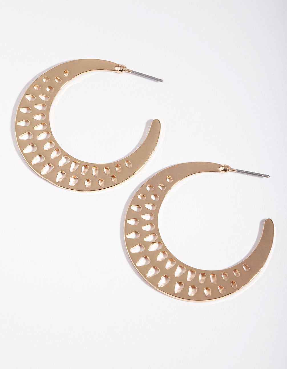 Gold Cut-Out Triangle Hoop Earring