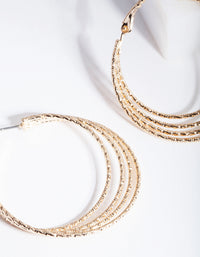 Gold Multi Textured Hoop Earring - link has visual effect only
