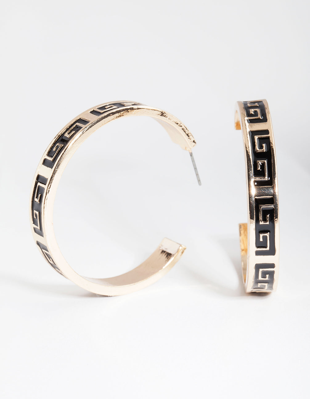 Black Gold Key Hoop Earring