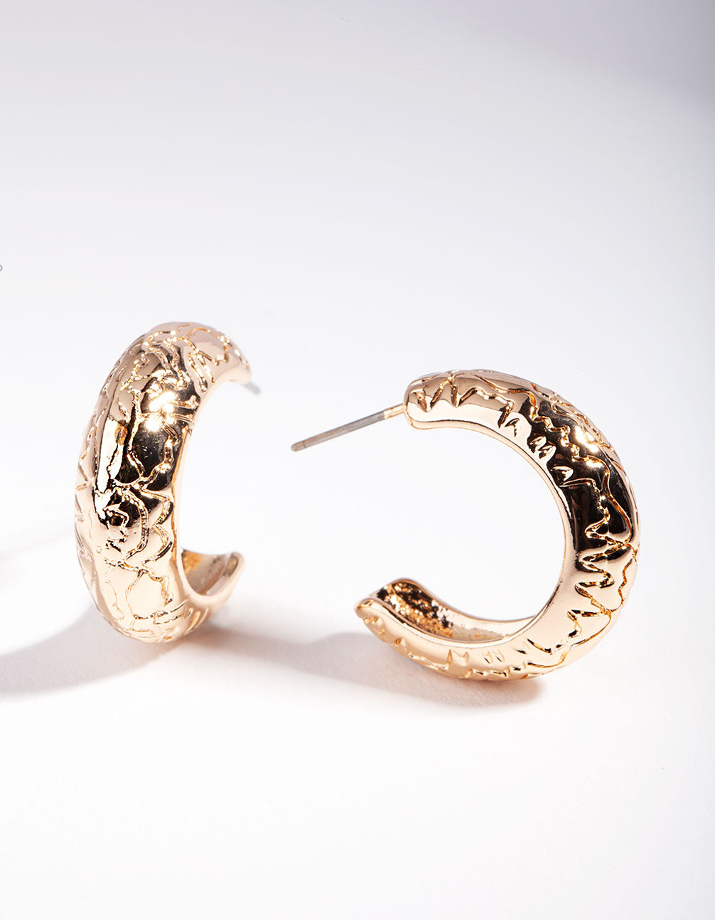 Gold Mini Etched Chunky Hoop Earring