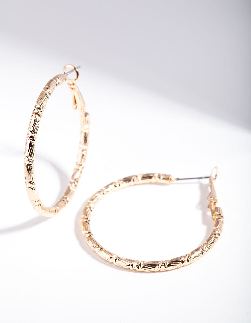 Gold Small Textured Hoop Earrings