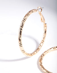 Gold Small Textured Hoop Earrings - link has visual effect only