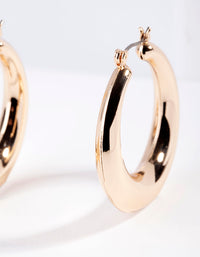 Gold Classic Smooth Hoop Earring - link has visual effect only