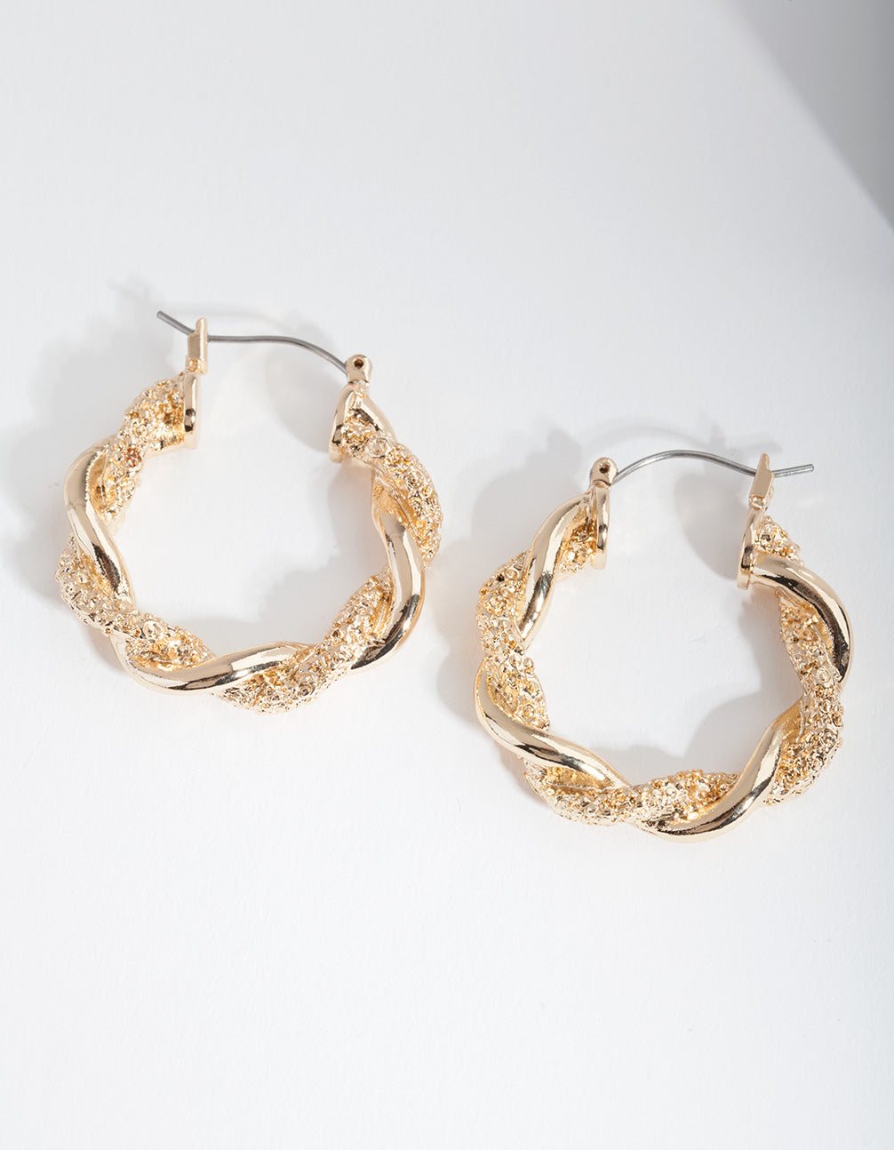Gold Textured Twist Hoop Earrings