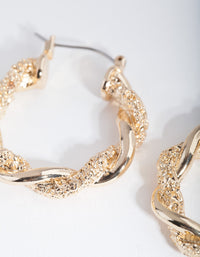 Gold Textured Twist Hoop Earrings - link has visual effect only